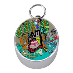 Cosmic Candy Monster Mini Silver Compasses by AnjaniArt