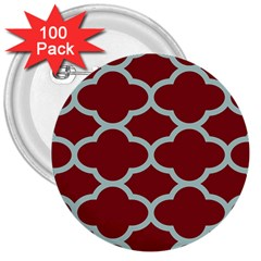 Flower Red Light Blue 3  Buttons (100 Pack)  by AnjaniArt