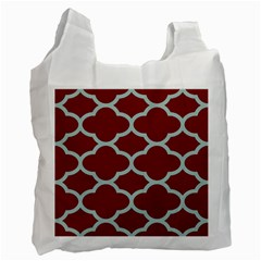 Flower Red Light Blue Recycle Bag (two Side)  by AnjaniArt