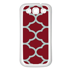 Flower Red Light Blue Samsung Galaxy S3 Back Case (white) by AnjaniArt