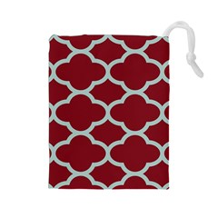 Flower Red Light Blue Drawstring Pouches (large)  by AnjaniArt