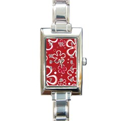 Flower Red Cute Rectangle Italian Charm Watch by AnjaniArt