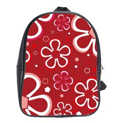 Flower Red Cute School Bags(large)  by AnjaniArt