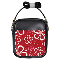 Flower Red Cute Girls Sling Bags by AnjaniArt