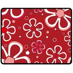 Flower Red Cute Double Sided Fleece Blanket (medium)  by AnjaniArt