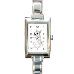 White Cat  Rectangle Italian Charm Watch by Valentinaart