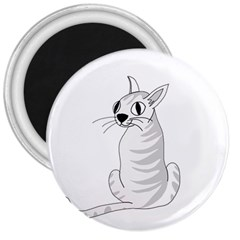 White Cat  3  Magnets by Valentinaart