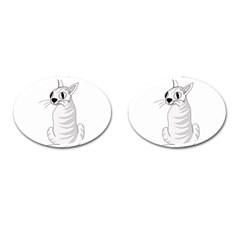 White Cat  Cufflinks (oval) by Valentinaart