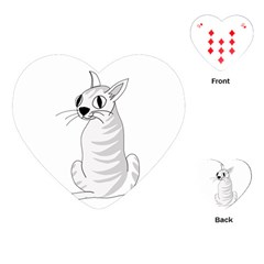 White Cat  Playing Cards (heart)  by Valentinaart