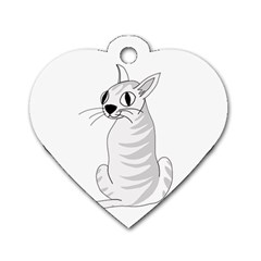 White Cat  Dog Tag Heart (one Side) by Valentinaart