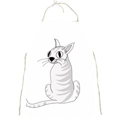 White Cat  Full Print Aprons by Valentinaart