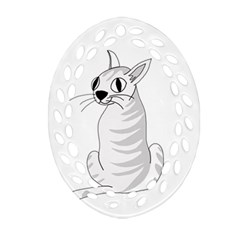 White Cat  Ornament (oval Filigree)  by Valentinaart