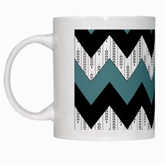 Green Black Pattern Chevron White Mugs by AnjaniArt
