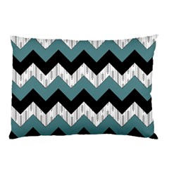 Green Black Pattern Chevron Pillow Case by AnjaniArt