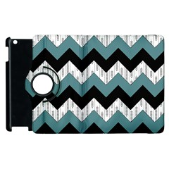 Green Black Pattern Chevron Apple Ipad 2 Flip 360 Case by AnjaniArt