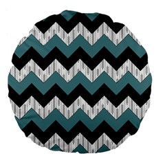Green Black Pattern Chevron Large 18  Premium Flano Round Cushions by AnjaniArt