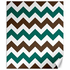 Green Chevron Canvas 8  X 10  by AnjaniArt