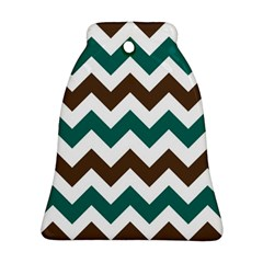 Green Chevron Bell Ornament (2 Sides) by AnjaniArt