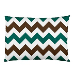 Green Chevron Pillow Case (two Sides) by AnjaniArt