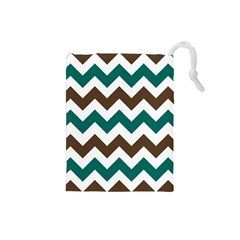 Green Chevron Drawstring Pouches (small)  by AnjaniArt