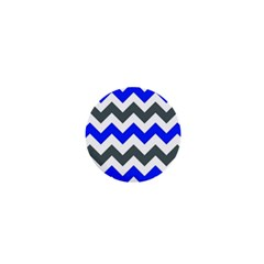 Grey And Blue Chevron 1  Mini Magnets by AnjaniArt