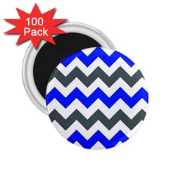 Grey And Blue Chevron 2 25  Magnets (100 Pack)  by AnjaniArt