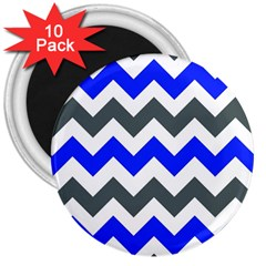 Grey And Blue Chevron 3  Magnets (10 Pack)  by AnjaniArt