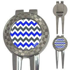Grey And Blue Chevron 3 In 1 Golf Divots by AnjaniArt
