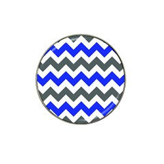 Grey And Blue Chevron Hat Clip Ball Marker (4 Pack) by AnjaniArt
