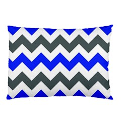 Grey And Blue Chevron Pillow Case by AnjaniArt
