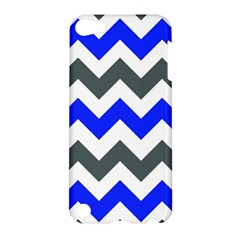 Grey And Blue Chevron Apple Ipod Touch 5 Hardshell Case by AnjaniArt