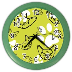 Face Cat Green Color Wall Clocks by AnjaniArt