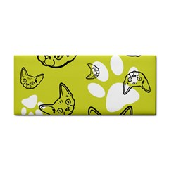 Face Cat Green Cosmetic Storage Cases by AnjaniArt