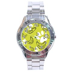 Face Cat Green Stainless Steel Analogue Watch by AnjaniArt