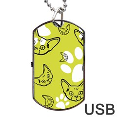 Face Cat Green Dog Tag Usb Flash (two Sides)  by AnjaniArt