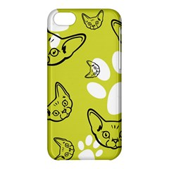 Face Cat Green Apple Iphone 5c Hardshell Case by AnjaniArt
