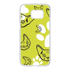 Face Cat Green Samsung Galaxy S7 Edge White Seamless Case by AnjaniArt