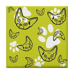 Face Cat Green Face Towel by AnjaniArt