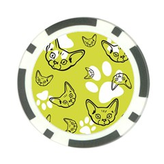 Face Cat Green Poker Chip Card Guards (10 Pack)  by AnjaniArt