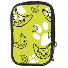 Face Cat Green Compact Camera Cases by AnjaniArt