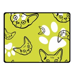 Face Cat Green Fleece Blanket (small) by AnjaniArt