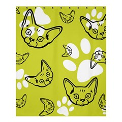 Face Cat Green Shower Curtain 60  X 72  (medium)  by AnjaniArt