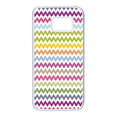 Color Full Chevron Samsung Galaxy S7 White Seamless Case by AnjaniArt