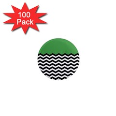 Lime Green Chevron 1  Mini Magnets (100 Pack)  by AnjaniArt