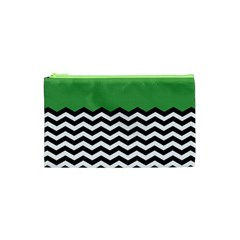 Lime Green Chevron Cosmetic Bag (xs) by AnjaniArt