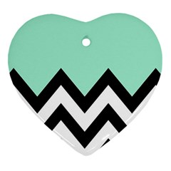 Mint Green Chevron Heart Ornament (2 Sides) by AnjaniArt