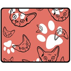 Face Cat Pink Cute Fleece Blanket (medium)  by AnjaniArt