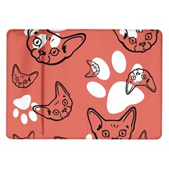 Face Cat Pink Cute Samsung Galaxy Tab 10 1  P7500 Flip Case by AnjaniArt