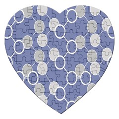 Round Blue Jigsaw Puzzle (heart) by AnjaniArt