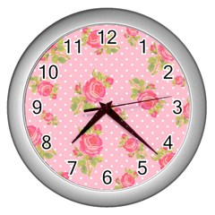 Rose Pink Wall Clocks (silver)  by AnjaniArt